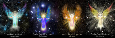 Digital Art - The Four Archangels Of Light by Endre Balogh