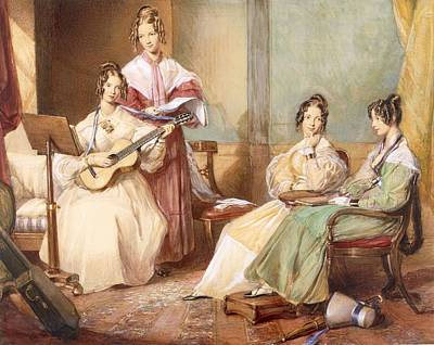 Guitar Drawing - The Four Daughters Of Archbishop by George Richmond