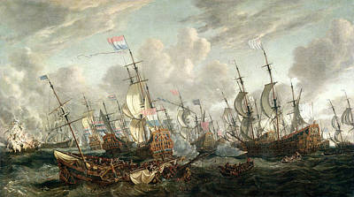 The Four Days Battle, June 1666 Art Print by Abraham Storck