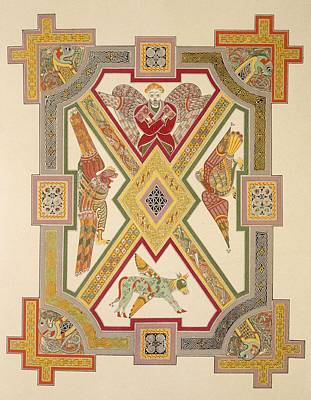 Bulls Drawing - The Four Evangelists, From A Facsimile by Irish School