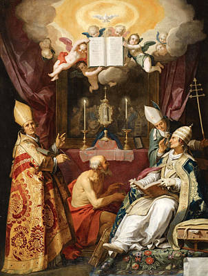 Catholic For Sale Painting - The Four Fathers Of The Latin Church by Abraham Bloemaert