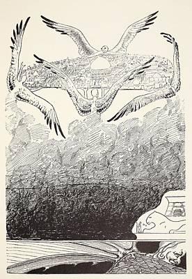The Four Gull-winged Djinns Lifting Art Print by Rudyard Kipling