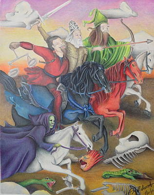 Revelation Drawing - The Four Horsemen Of The Apocalypse by Susan L Sistrunk