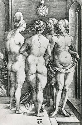 White Drawing - The Four Witches by Albrecht Durer or Duerer