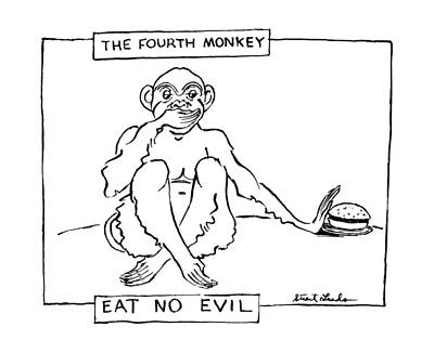 July Fourth Drawing - The Fourth Monkey by Stuart Leeds