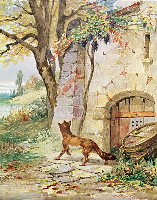 The Fox And The Grapes, Illustration For Fables By Jean De La Fontaine 1621-95 Colour Litho Art Print by Jules David