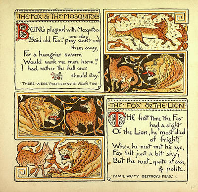 Children Book Illustration Drawing - The Fox And The Mosquitoes The Fox And The Lion by English School