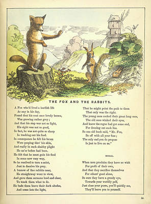 The Fox And The Rabbits Art Print by British Library