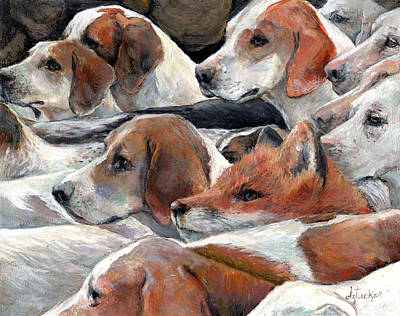 Beagle Painting - Fox Play by Donna Tucker