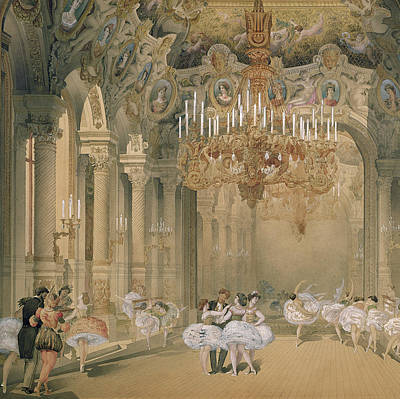 Ballroom Dancing Painting - The Foyer Of The Opera During The Interval by French School