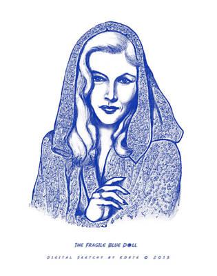 The Blue Dahlia Digital Art - The Fragile Blue Doll by Christopher Korte