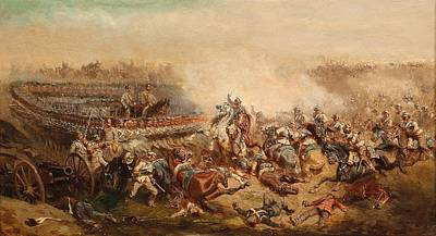 The Fray Between Prussian And Austrian Cuirassiers Infantrymen Art Print