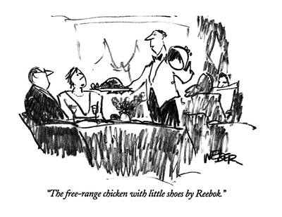 Dinner Table Drawing - The Free-range Chicken With Little Shoes by Robert Weber