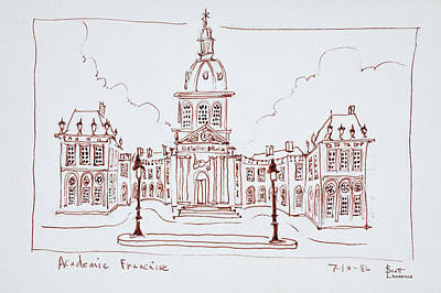 Pen And Ink Drawing Photograph - The French Academy, Paris, France by Richard Lawrence