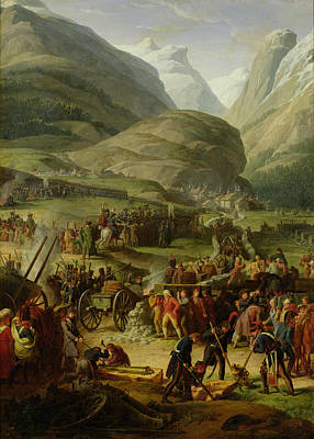 Saint Bernard Photograph - The French Army Travelling Over The St. Bernard Pass At Bourg St. Pierre, 20th May 1800, 1806 Oil by Charles Thevenin