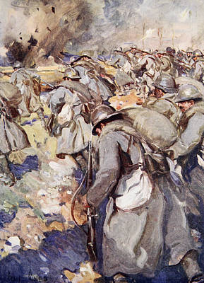 Shell Drawing - The French Force Rushed Forward To Take by Cyrus Cuneo