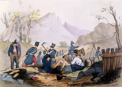 Grave Drawing - The French Foreign Legion Burying by English School