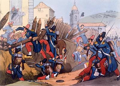 Storm Drawing - The French Legion Storming A Carlist by English School