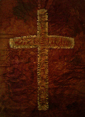 Painting - The Fresco Cross by Absinthe Art By Michelle LeAnn Scott