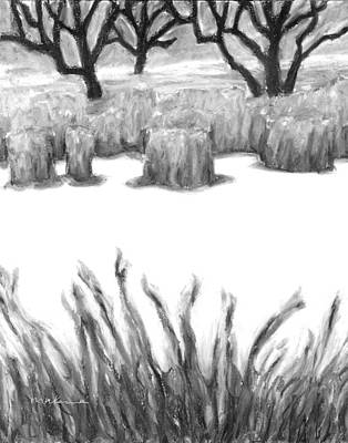 Painting - The Freshness Of Winter Black And White by Carrie MaKenna