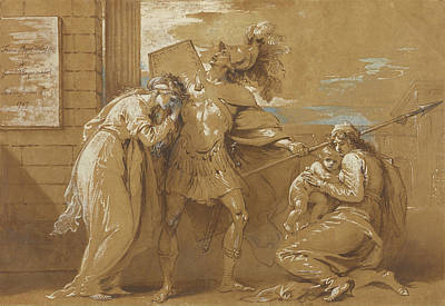 Wash Drawing - The Fright Of Astyanax Hector Bidding Farewell by Litz Collection