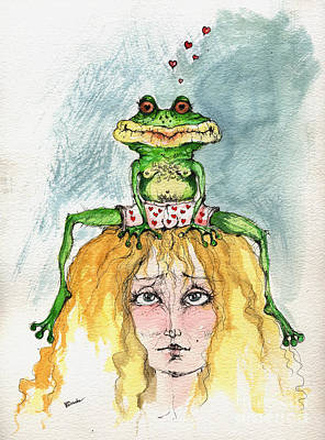 Toads Drawing - The Frog And The Princess by Angel  Tarantella