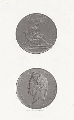 Williams Dam Drawing - The Front And Back Of A Coin To Commemorate The 25th by Jan Dam Steuerwald