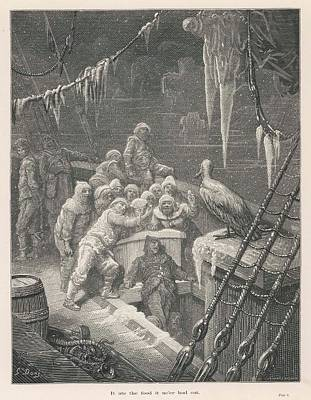 Albatross Drawing - The Frozen Crew Are Joined By  An by Mary Evans Picture Library
