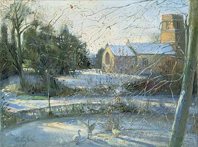 Winter Landscape Painting - The Frozen Moat, Bedfield  by Timothy Easton