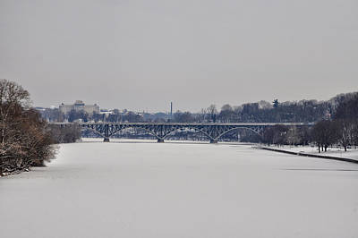 Mansion Digital Art - The Frozen Schuylkill And Strawberry Mansion Bridge by Bill Cannon