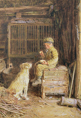 Paws Painting - The Frugal Meal by William Henry Hunt