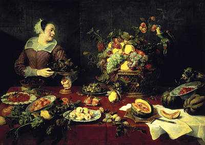 Artichoke Wall Art - Photograph - The Fruit Bowl Oil On Canvas by Frans Snyders or Snijders