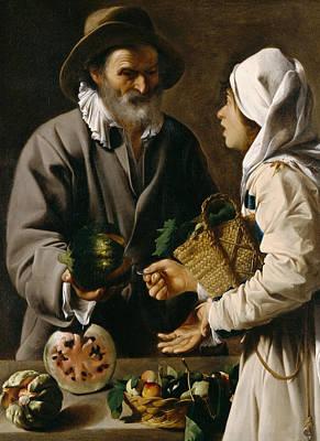 Painting - The Fruit Vendor by Pensionante de Saraceni