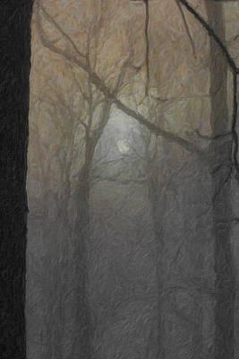 The Full Moon Shining Through Trees Art Print