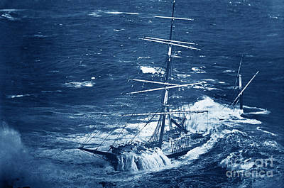 Photograph - The Full-rigged Ship Cromdale Stranded May 23 1913 At Bass Pt. Near The Lizard by California Views Mr Pat Hathaway Archives