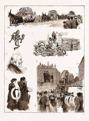 Vintage Lamp Drawing - The Funeral Of M. Gambetta At Nice, France by Litz Collection