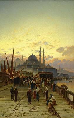Orientalist Painting - The Galata Bridge Constantinople by Celestial Images