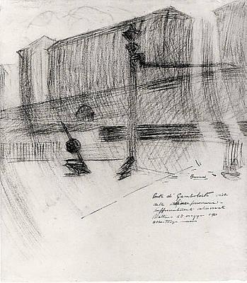 Umberto Boccioni Drawing - The Gamboloita Bridge by Umberto Boccioni