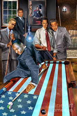 African-americans Painting - The Game Changers And Table Runners by Reggie Duffie