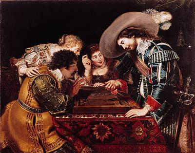 The Game Of Backgammon Oil On Canvas Art Print by Cornelis de Vos