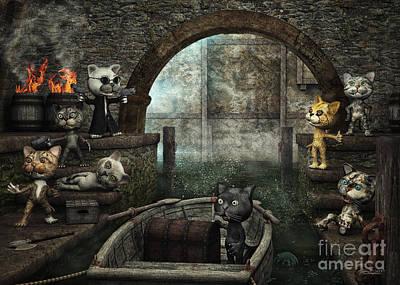 Digital Art - The Gang by Jutta Maria Pusl