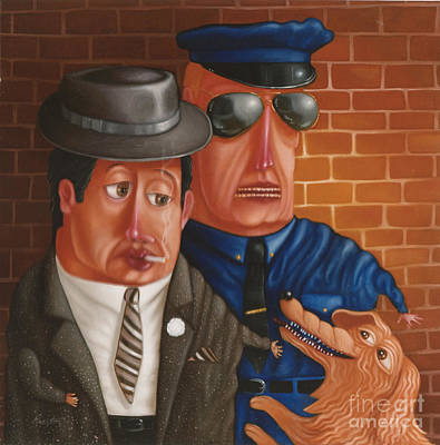 Cops Painting - The Gangster The Cop And The Dog 1997 by Larry Preston