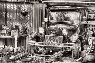 Photograph - The Garage Sale Black And White by JC Findley