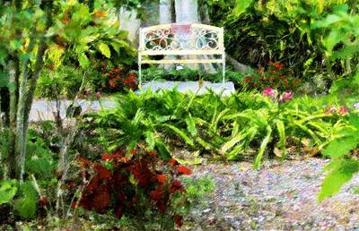 The Garden Bench Art Print by Florene Welebny