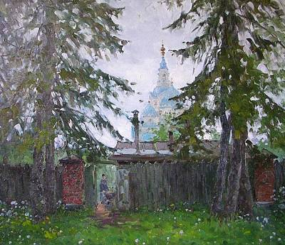 Valaam Painting - The Garden Gate by Alexandrovsky Alexander