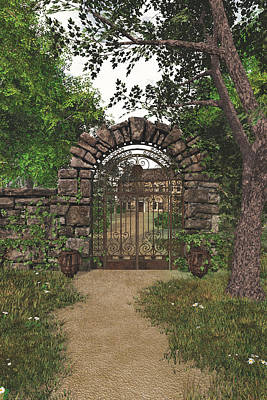 Art Print featuring the digital art The Garden Gate by Jayne Wilson