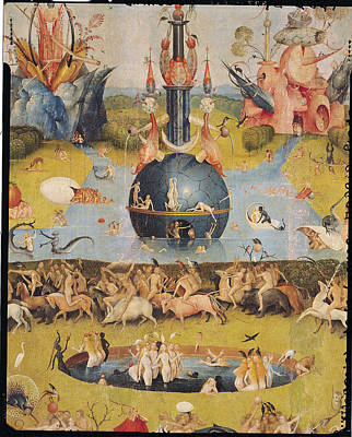 The Garden Of Earthly Delights Allegory Of Luxury, Detail Of The Central Panel, C.1500 Oil On Panel Art Print by Hieronymus Bosch