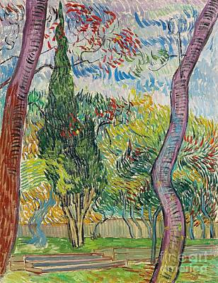 Reds Of Autumn Painting - The Garden Of St Pauls Hospital by Vincent van Gogh