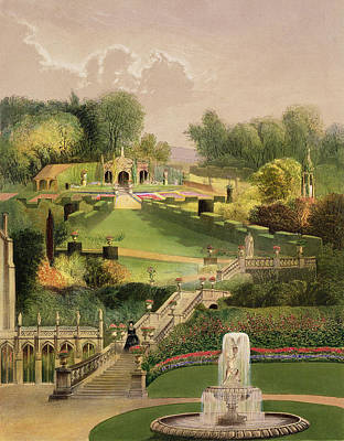 Victorian Garden Painting - The Garden On The Hill Side, Castle by E. Adveno Brooke