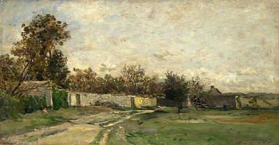 Painting - The Garden Wall by Charles-Francois Daubigny